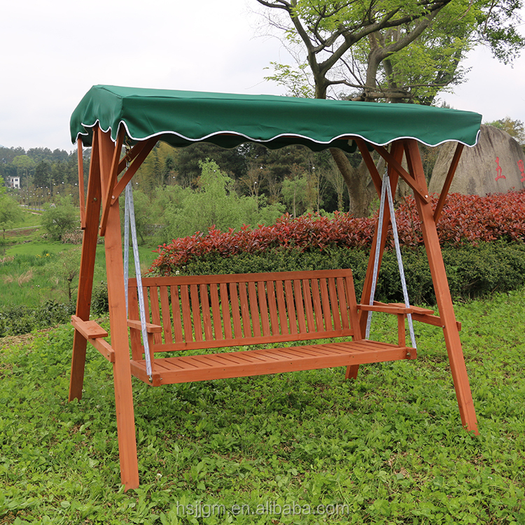 outdoor wooden garden swing bench with canopy