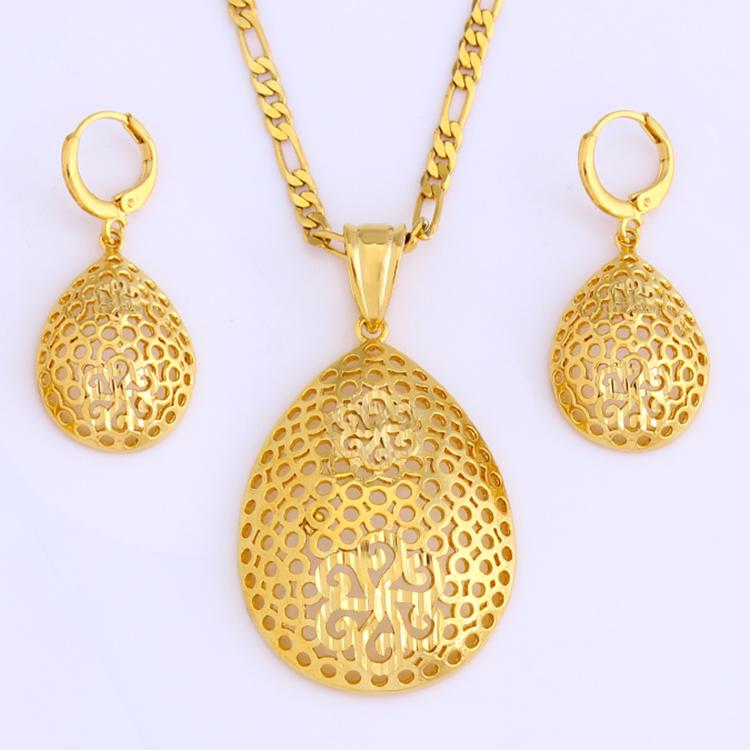 e287d12a6894 Nuevo Etíope conjunto de joyas 18 K oro Color pendiente colgante Collar de  joyería