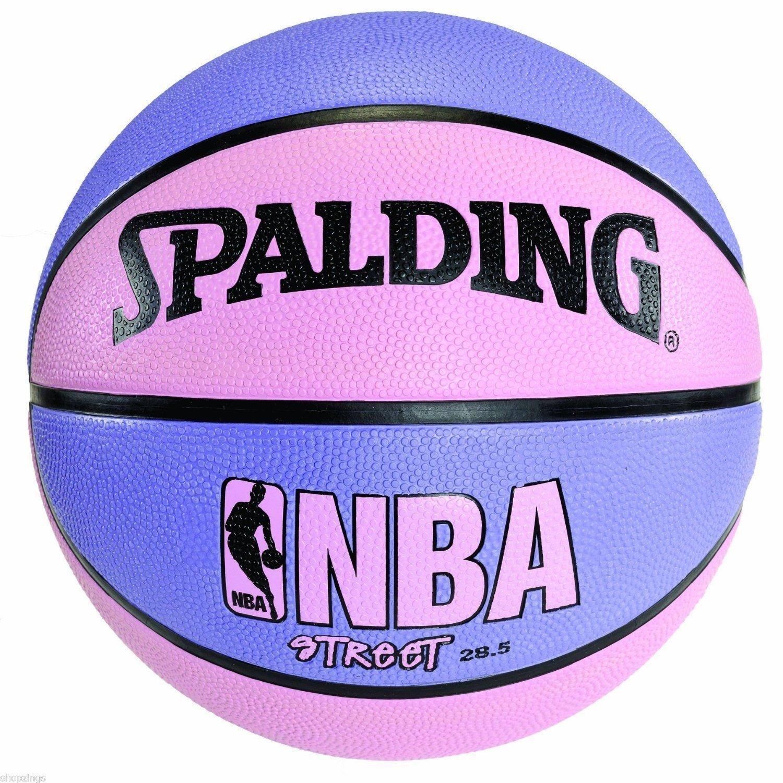 eda1624f872 Get Quotations · Spalding Pink   Purple NBA Street Basketball 28.5 Women  Girl Outdoor Size 6 Ball