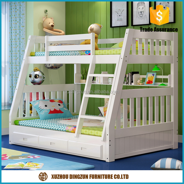 safety wood bunk bed double decker bed kids fall prevention bunk bed with high guard rail
