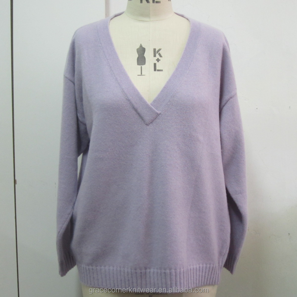 lady sweater pullover women long sleeves deep v neck knitwear