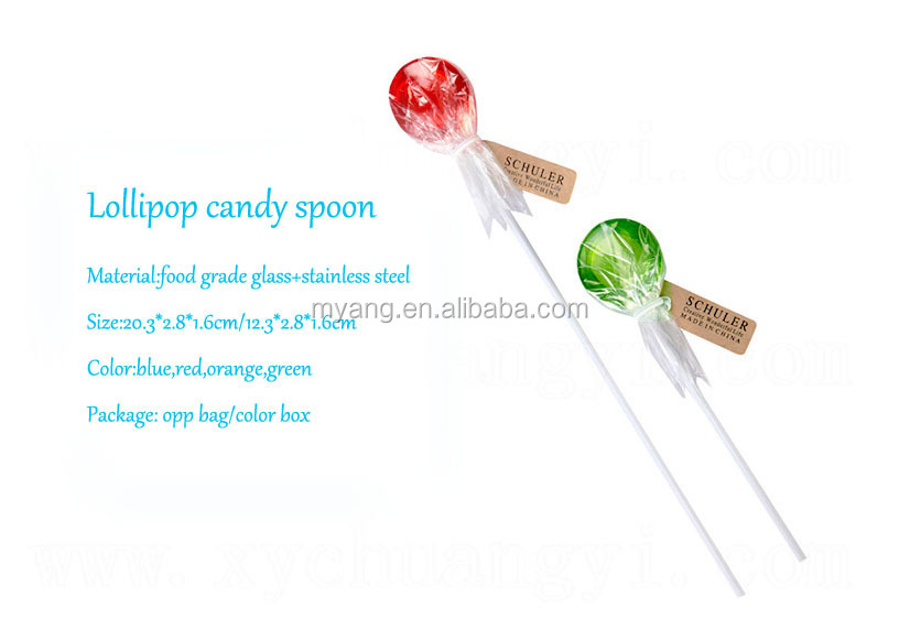 Creative Lollipop candy spoon,glass material spoon,coffee/tea long spoons
