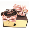 Factory Direct Pink Striped Bow Tie Leather Collars For Strong Dogs