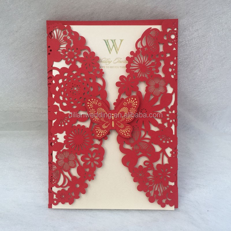 Laser Cut Lace Floral Puberty Ceremony Invitation Cards