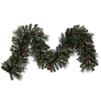 9 foot mix pine cone christmas garland with 70 led clear lights decoration