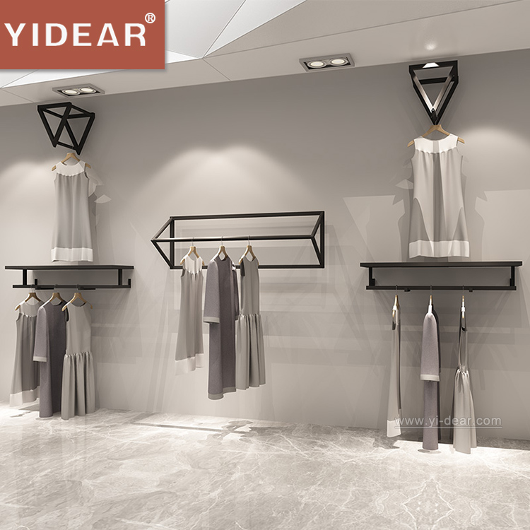 Wall mounted clothing <strong>display</strong> rack for women clothes shop <strong>display</strong>,Modern metal hanging clothes <strong>Display</strong> rack