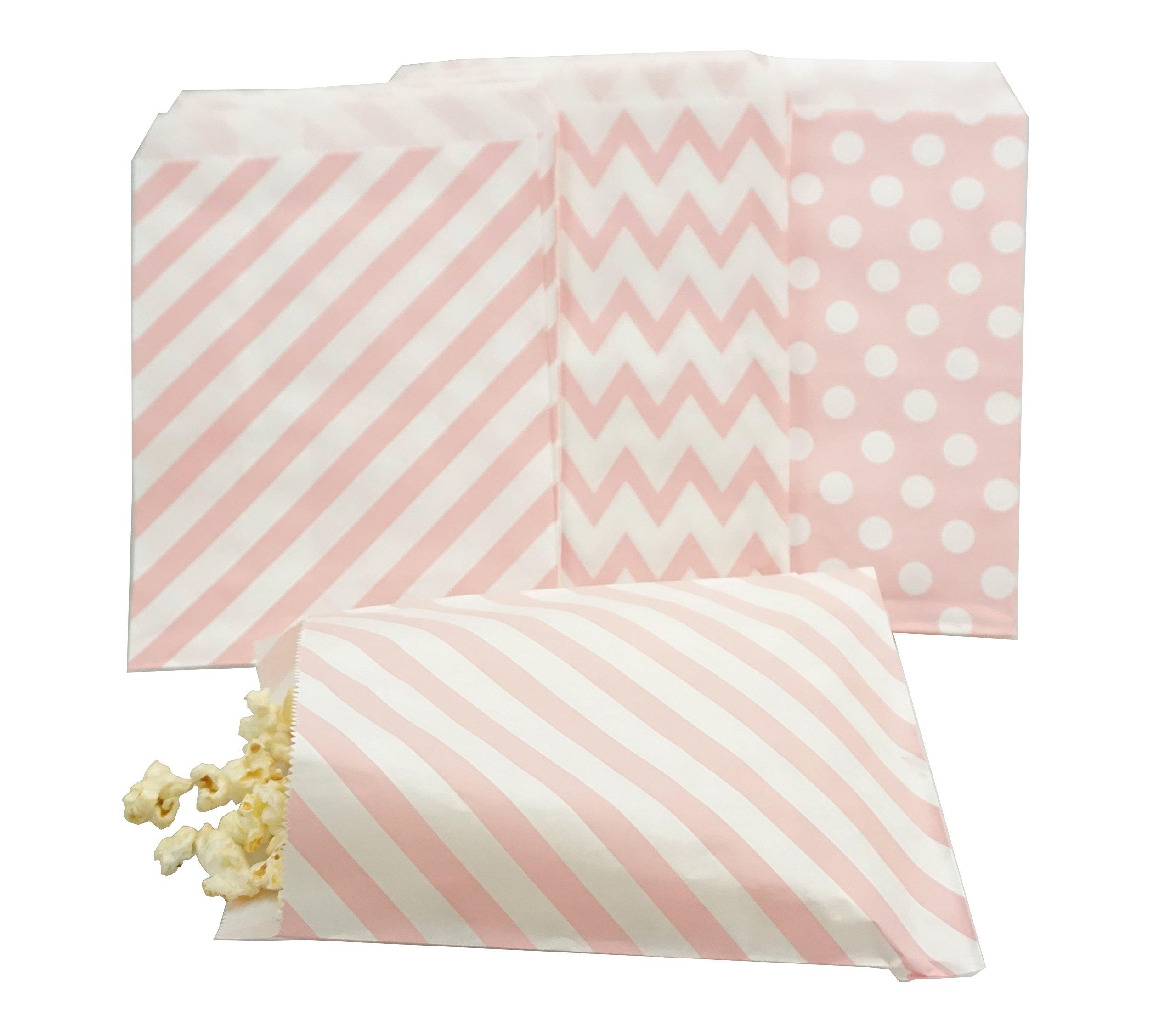 Bilipala Pink Slash Stripe Polka Dot Paper Popcorn Favor Candy Gift Treat Bags, 75 Counts