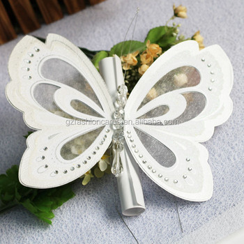 Wholesale Elegant Ivory Royal Scroll Butterfly Wedding Invitation
