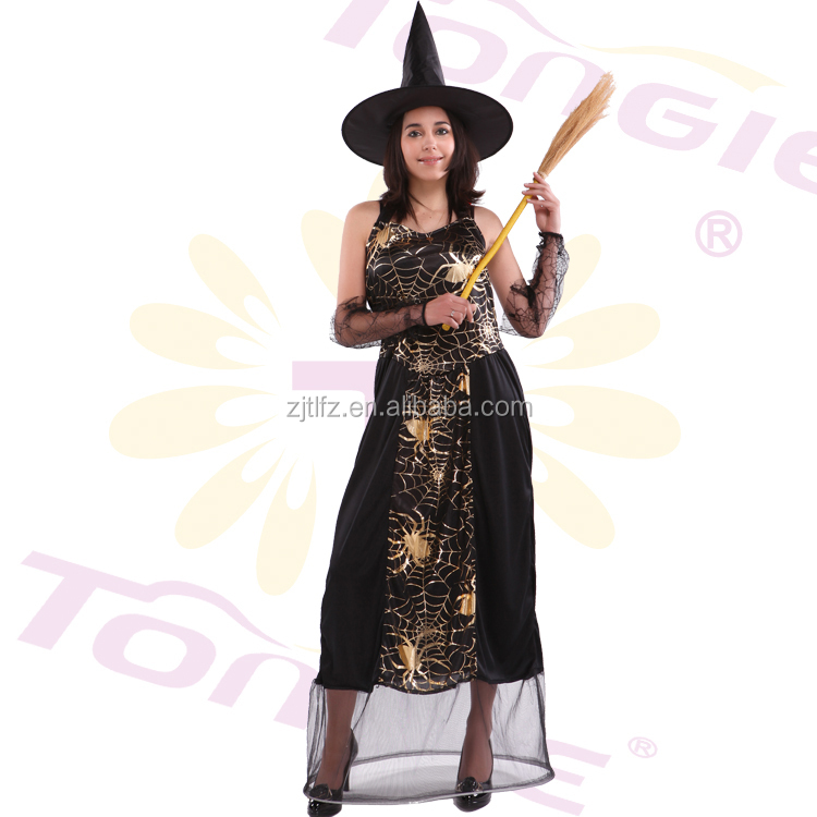 best selling halloween sexy black spider witch xxxxl fancy dress costume for women with oversleeve - Spider Witch Halloween Costume