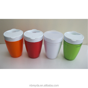 2 in 1 Plastic Tumbler PP Mug Cup with Flat Lid