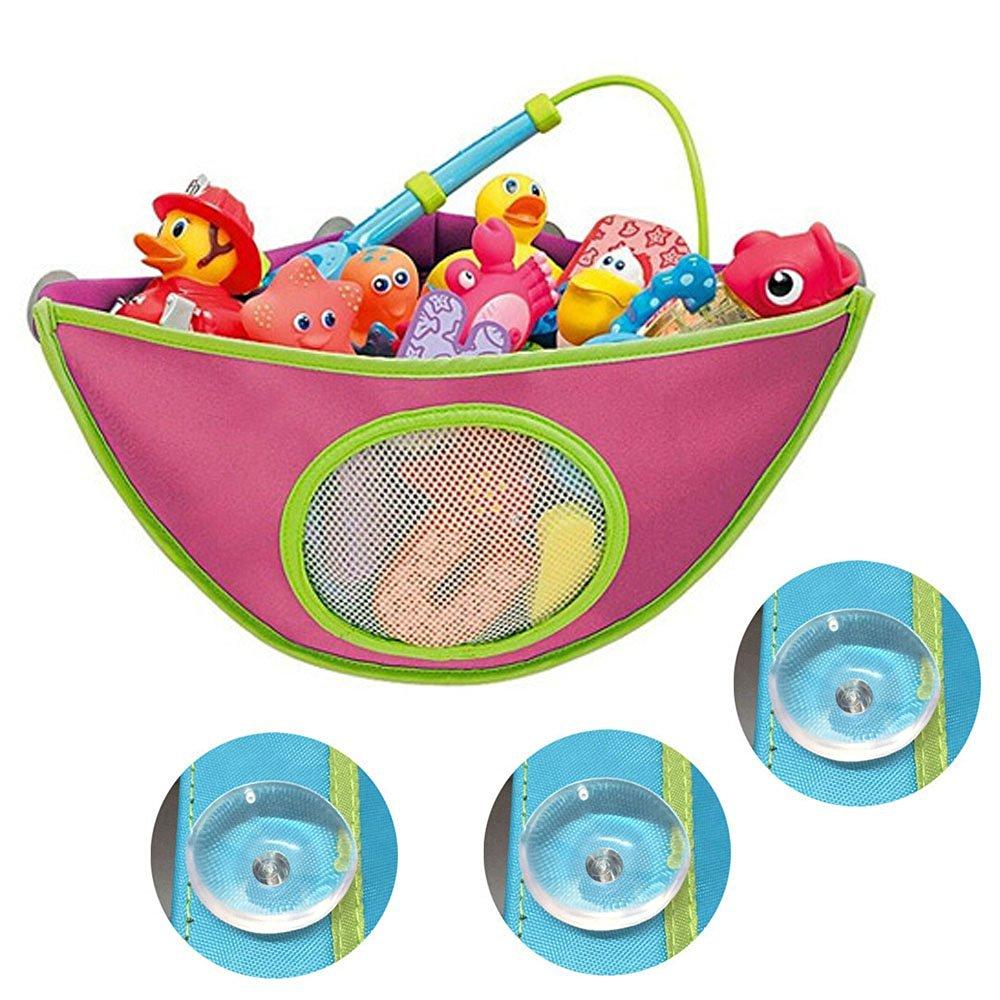 WOM-HOPE® Baby Bath Toys Corner Organizer Basket Kids Toddler Net Storage Bag Organizer Bath Toy Mesh Bag Mildew Mold Resistant for Kids Bath Toys (Rose Red)