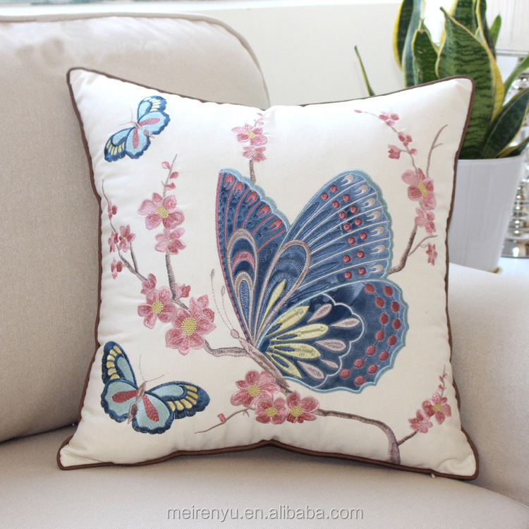 New design embroidery cushion animal pattern linen