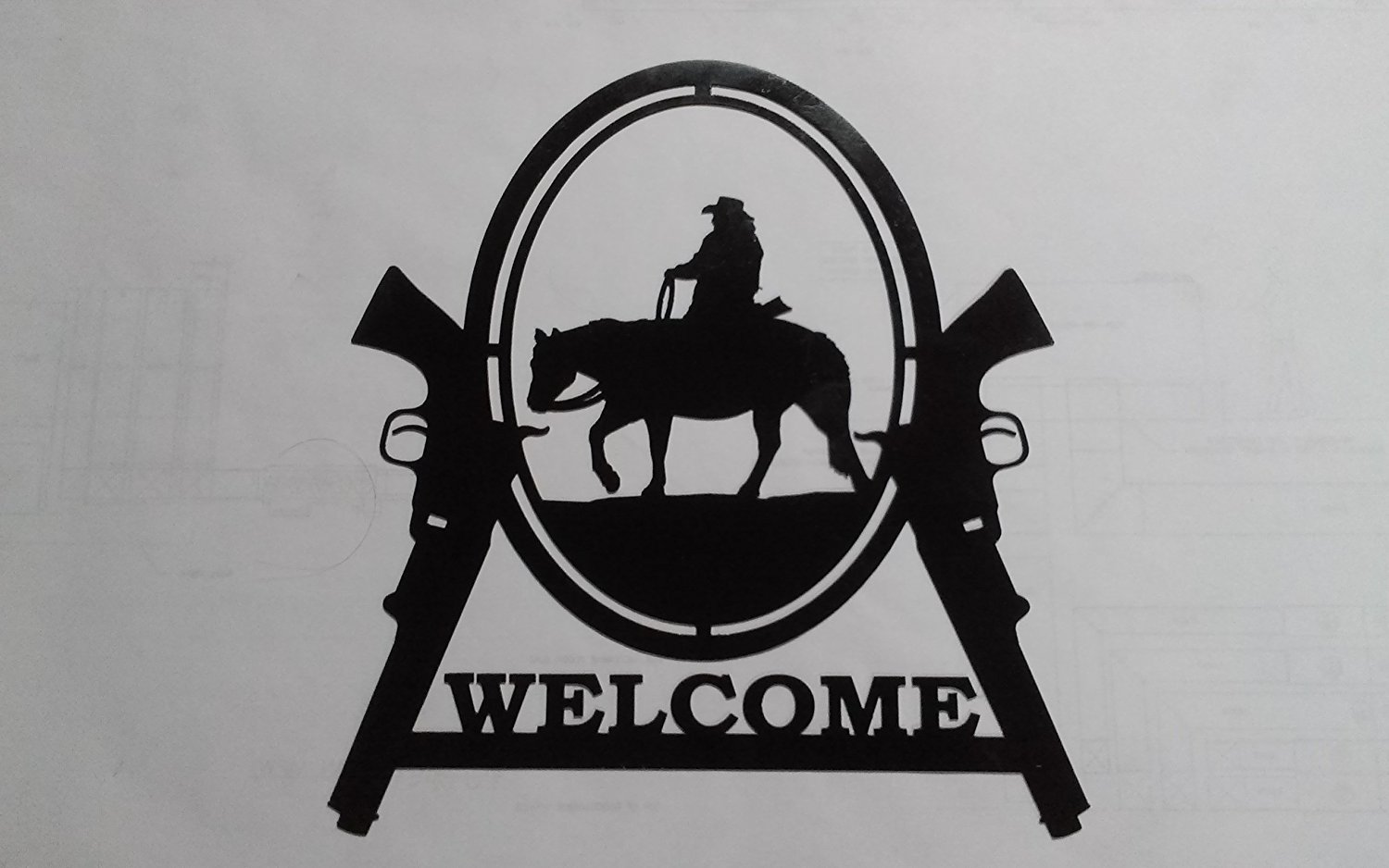Cowboy on Horse with Two Guns Welcome Sign Metal Wall Art Home Decor