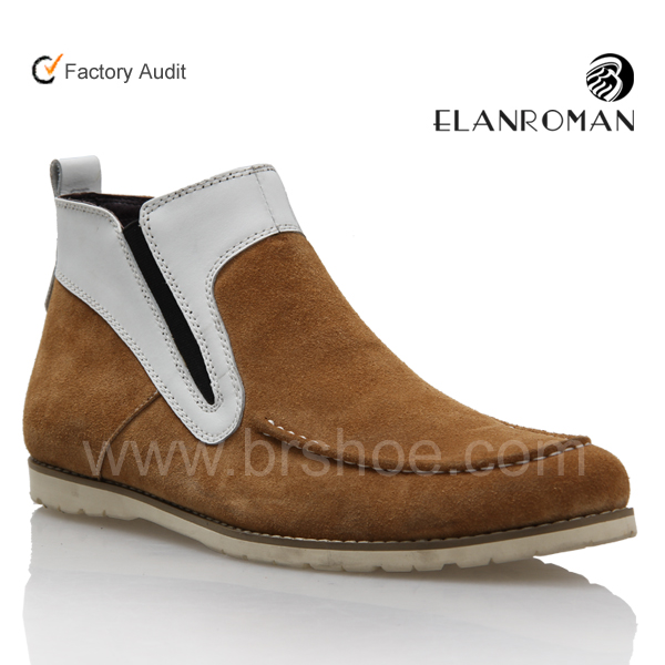 New model high cut casual shoes men flat sole boots suede