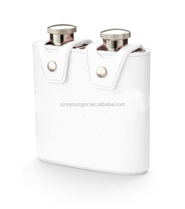Small size white leather cover hip flask/wine flask
