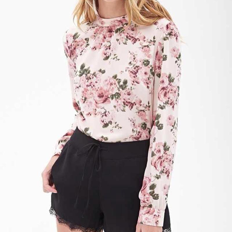 609481c746cb96 2015 Fashion Floral Women Shirts O Neck Long Sleeve Print Blouses Hedging  Spring Slim Ladies Fashion Floral Women Shirts