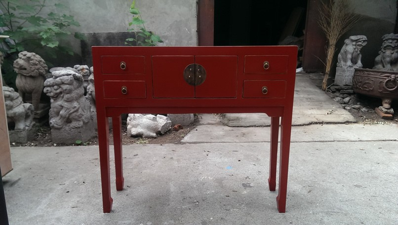 Hotel Red Chinese Console Table Hand Painted Drawer Console