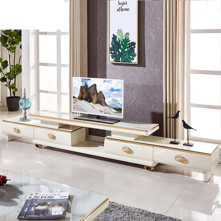 italian simple design livingroom marble white high gloss tv stand