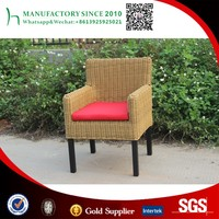 Hotel used Wooden frame rattan woven chair with cushion