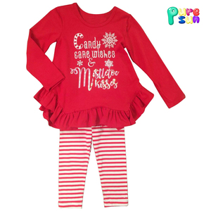 2017 new fashion children girls Christmas candy pajamas outfits boutique baby girl ruffle tops and leggings clothing set