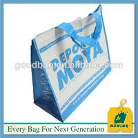 PE plastic lamination pp woven shopping handle bags with logo printed