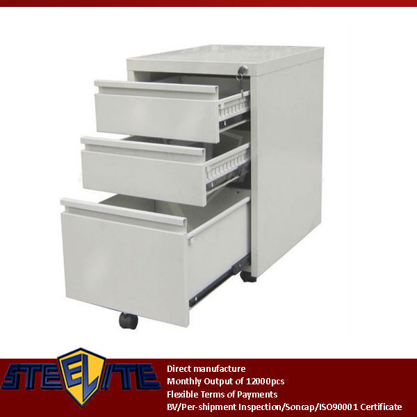 Vertical 3 Drawers Mini Movable Godrej File Cabinet With Wheels ...