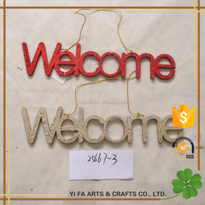"16"" Wooden christmas ""WELCOME"" letter hanging ornaments with glitter xmas gifts for tree home decoration"