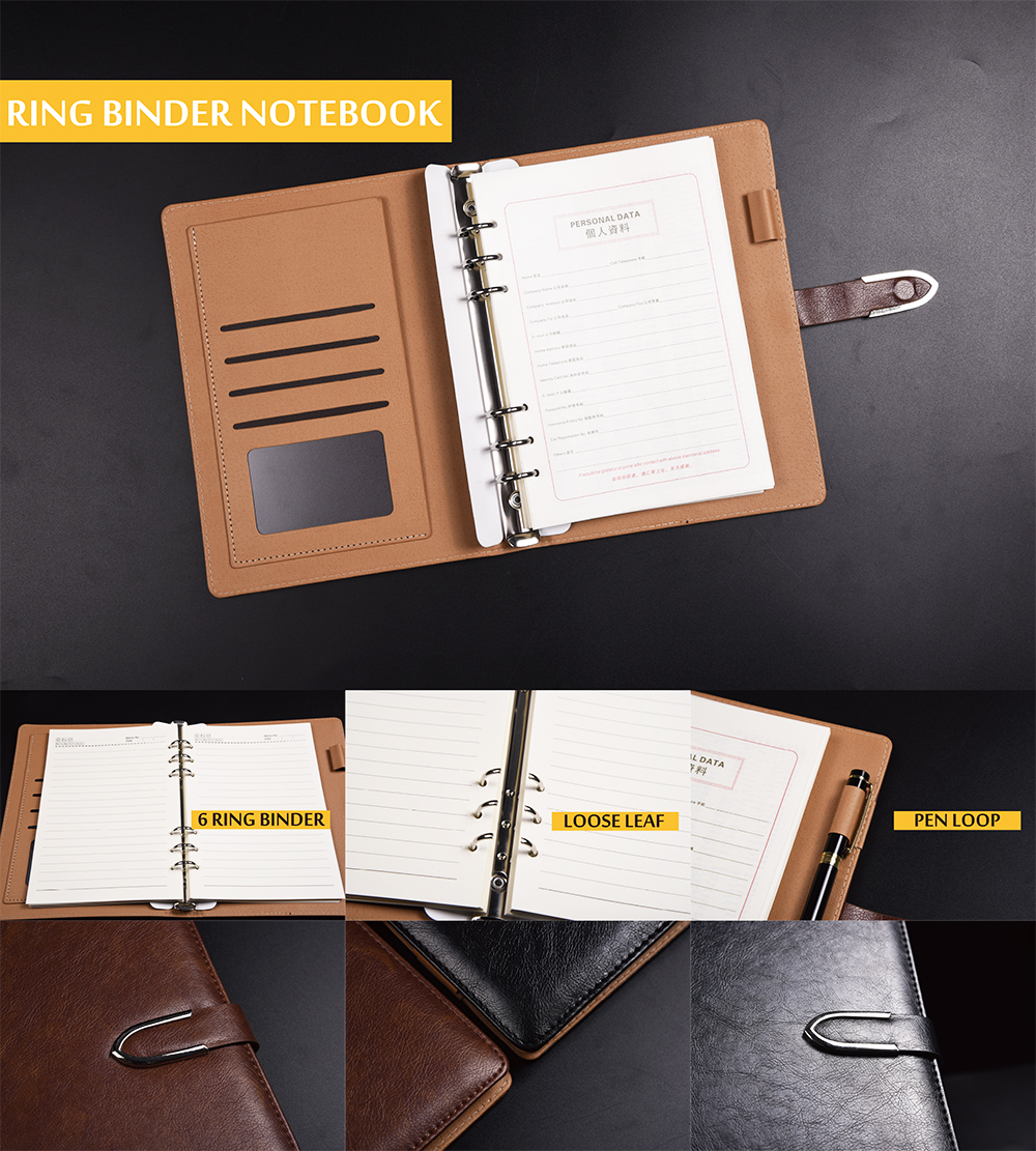 Thermo PU leather magnet closure ring binder notebook agenda