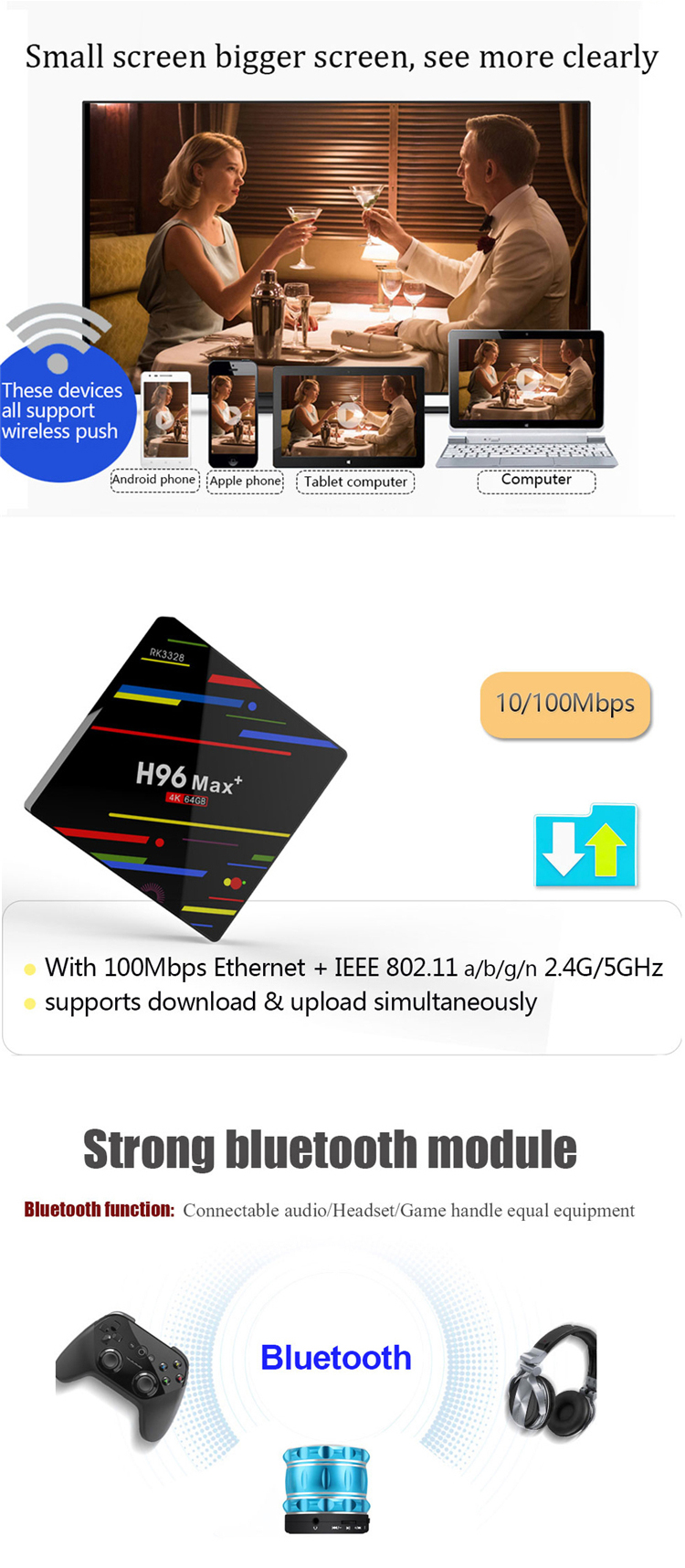 Kualitas Terbaik Rk3328 Quad Core 4 GB RAM 64 GB ROM Android 8.1 4 K Smart TV Set Top Box h96 Max