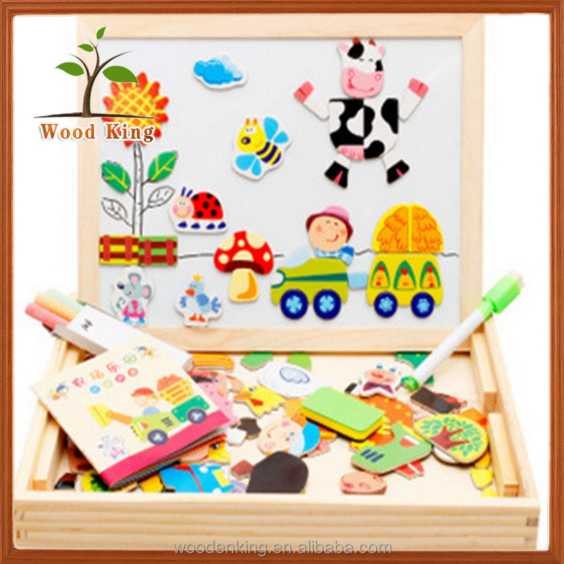 Happy Farm Spell Spell Le Forest Animals Sketchpad Toys Desk Educational Magnetic Wooden Toys For Kids