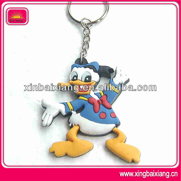 custom fashion promotion animal plastic keychain soft PVC keyring