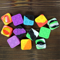 23G Light Weight lego style Square wax jars Resuable 9ml silicone BHO container dax wax jars 8 colors in Stock!