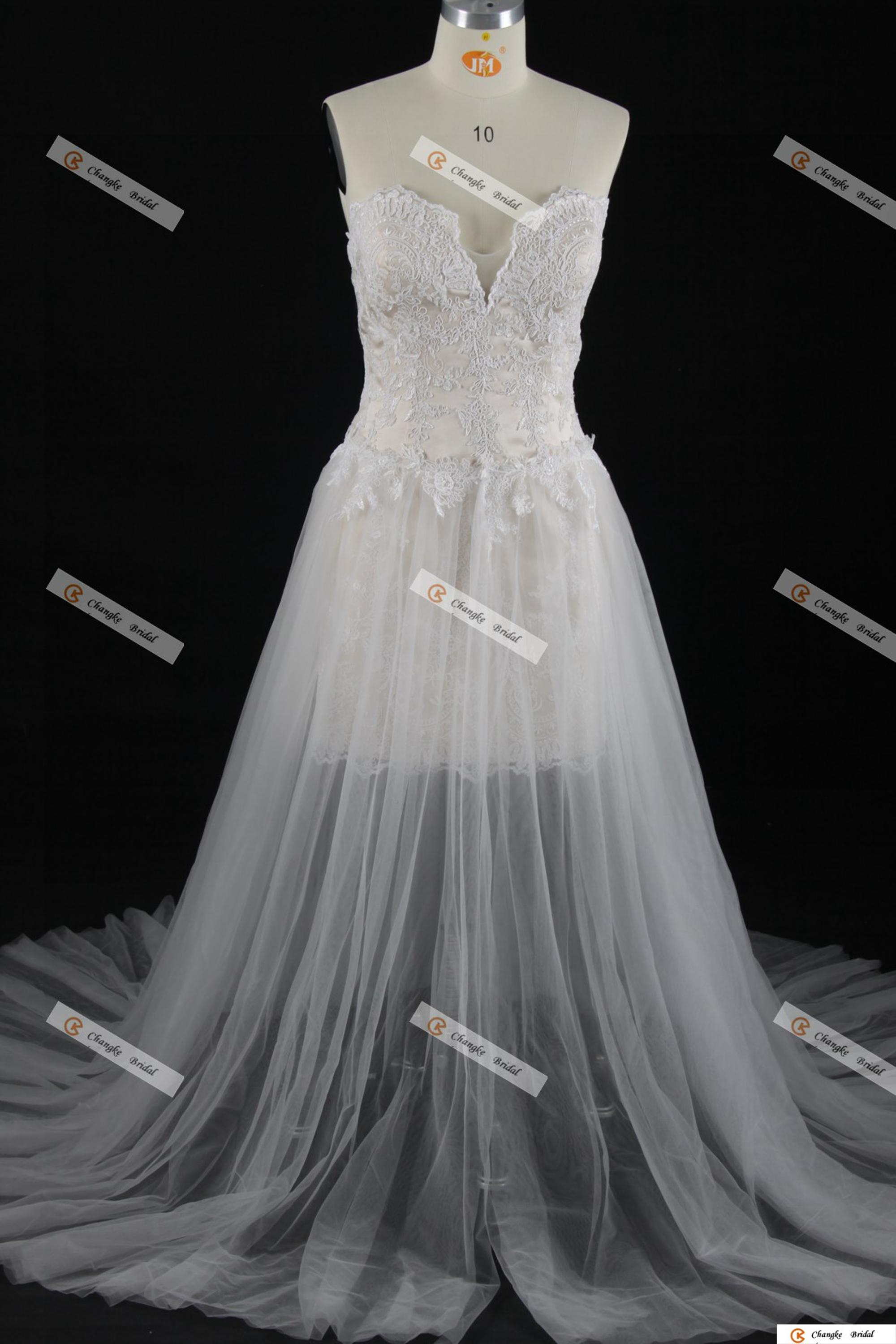 98b2a1a490e New Arrival Wholesale Sexy Strapless Lace short Wedding Dress with detachable  skirt