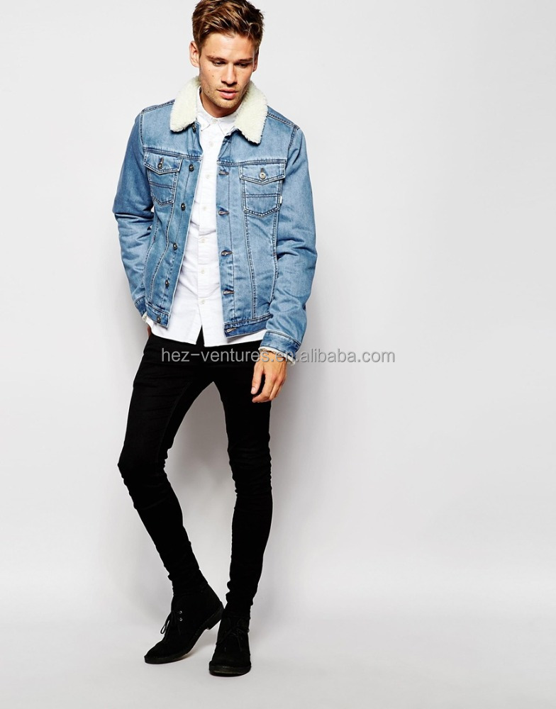 Men Denim Jacket With Borg Collar In Blue Wash Mens Wholesale ...