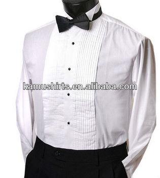 Man Tuxedo Shirts Bow Tie Wing Tip Collar Tuxedos White