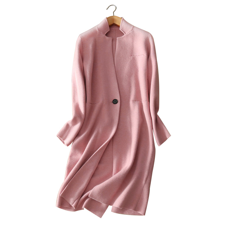100 cashmere women s warm coats turn down collar solid color knitting slim thick coat single
