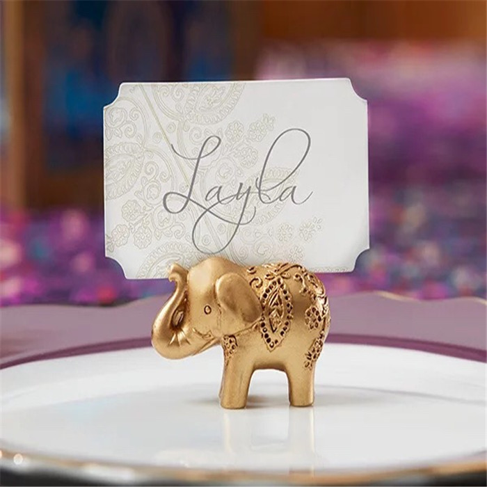 Wedding gift Lucky Golden Elephant Place name Card Holder