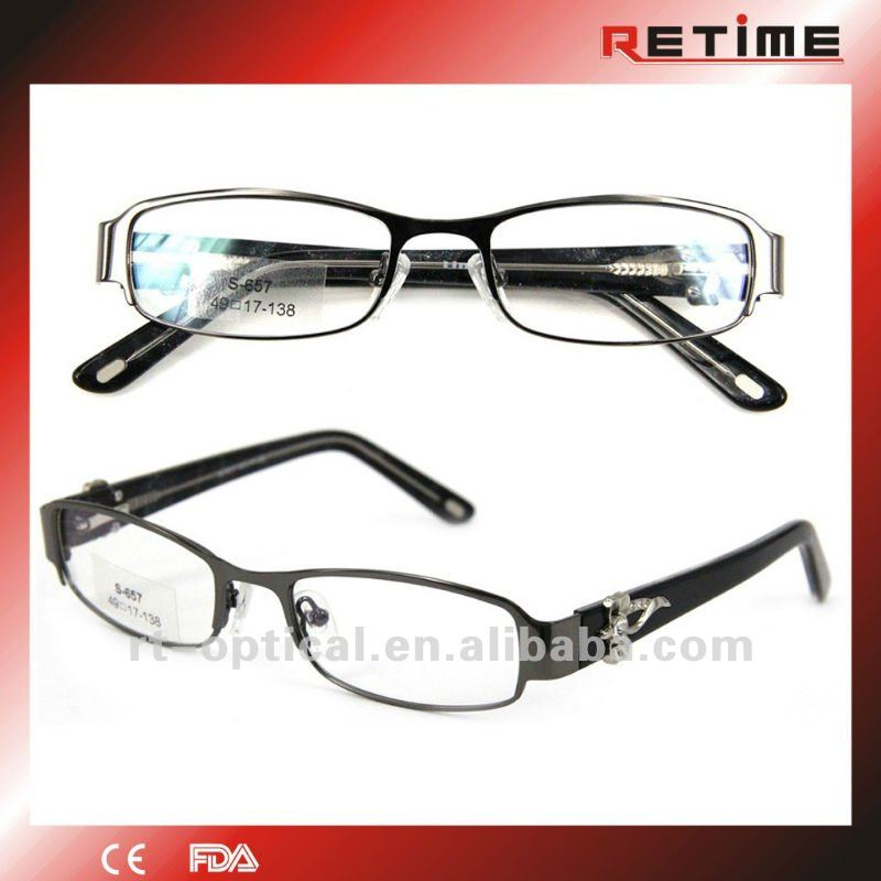 2012 mens stainless steel eyeglasses optical frames with crystals (S-657)