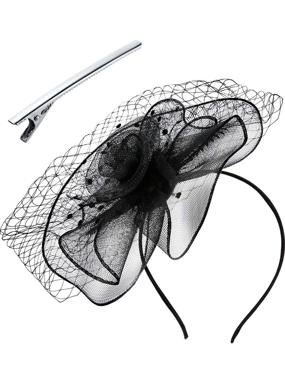 Jovitec Fascinators Hat Women Ladies Mesh Veil Flower Headband Clips Cocktail Tea Party Headdress Wedding Bridal Headpiece, Black