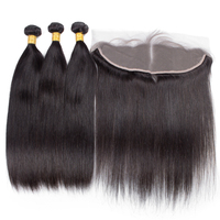 Free Shipping Unprocessed Raw Brazilian Human Hair Natural Black 3 Bundles With Frontal