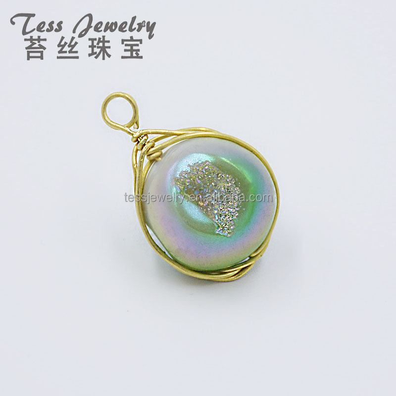 New Product druzy women's handbags18mm Round Drusy Agate Geode Coated Beads For Jewelry