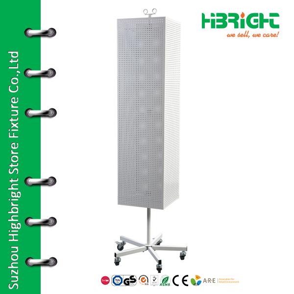 Pegboard rectangular rotating metal display stand