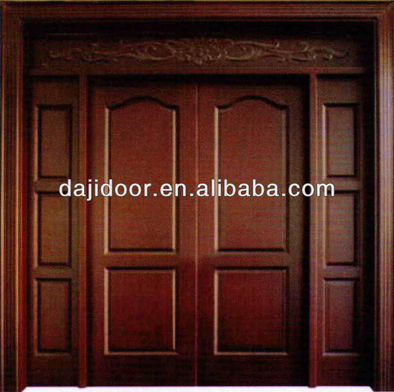 Luxury Wooden Front Double Doors Design With Side Lite Transom Dj
