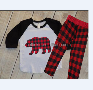2017 chinese koya factory direct sale baby bear clothing set 100% cotton boutique plaid outfits