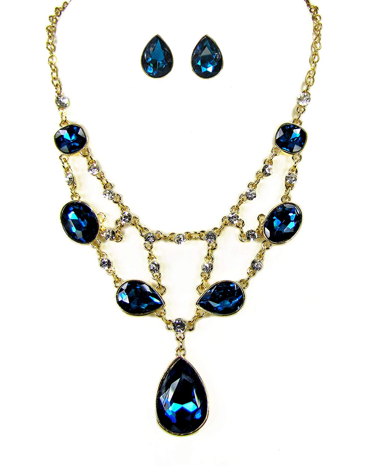 Crystal Bib Statement Necklace and Earring Set in Teal Blue