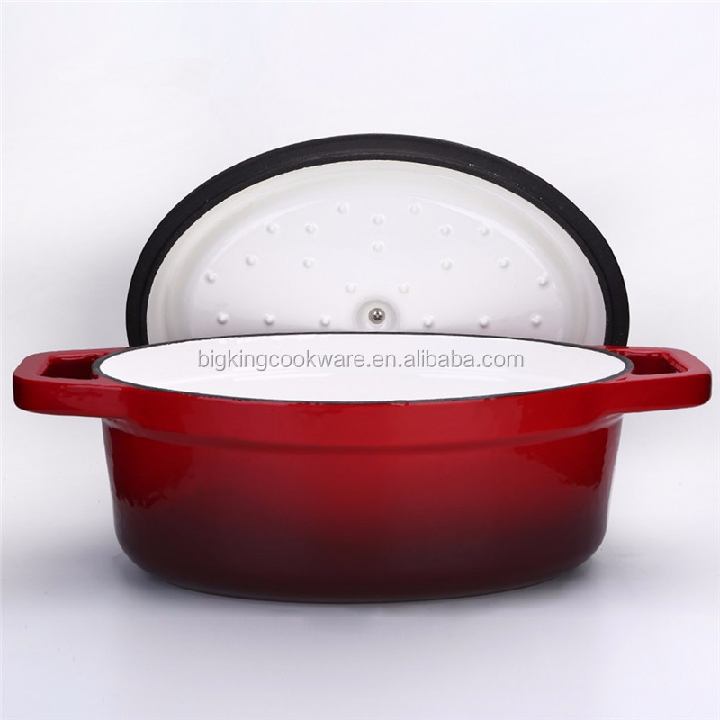 Big Size Oval Cast Iron Dutch Oven with enamel coating