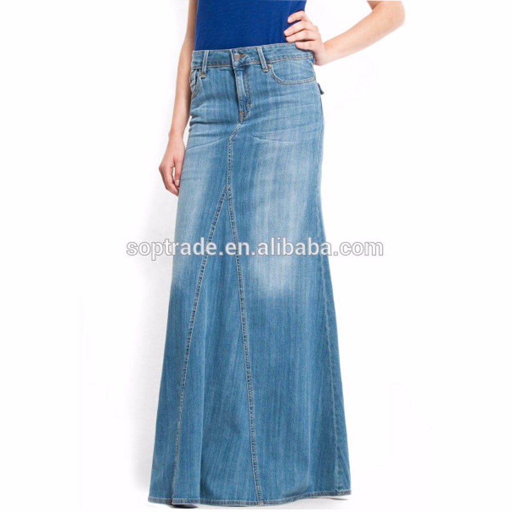 wholesale jean skirt high quality cotton maxi