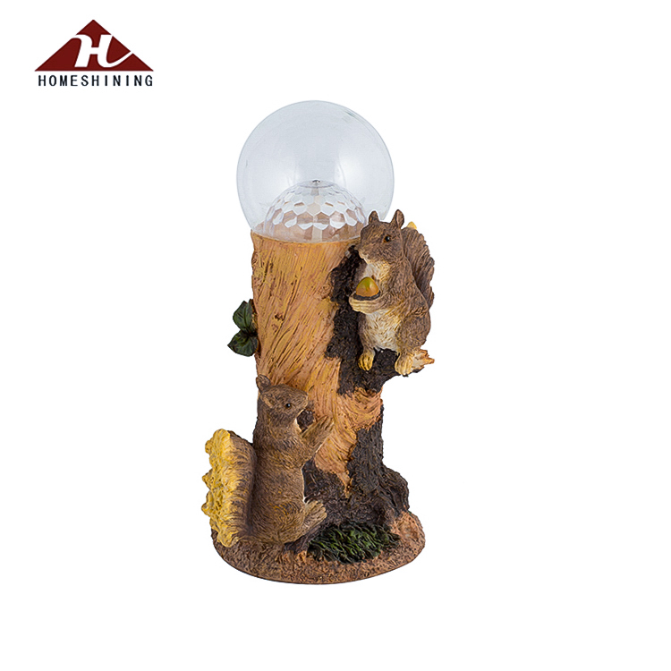 "12"" Tall Squirrel Solar Powered Decorative Garden Statues With Led Ball Lights"