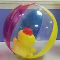 Promotional clear plastic ball inflatable pvc beach ball with duck inside