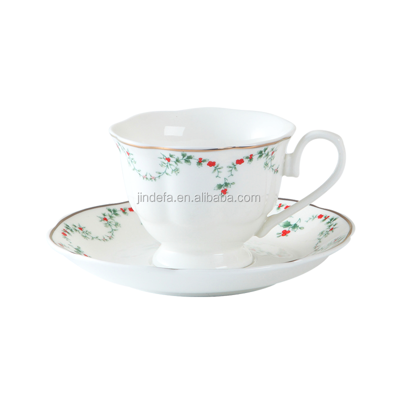 British Style Flower Design Afternoon Teacups / Victorian Fine Bone Porcelain Cups and Saucers Wholesale
